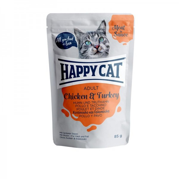 HappyCat Meat in Sauce Adult Huhn & Truthahn 24x85g