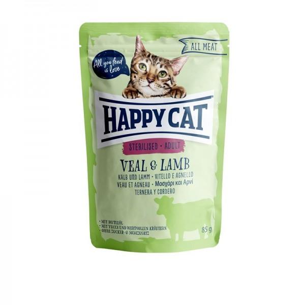 HappyCat All Meat Adult Kalb & Lamm 24x85g