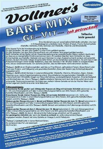 Vollmers Barf Mix GeVit roh,getr.