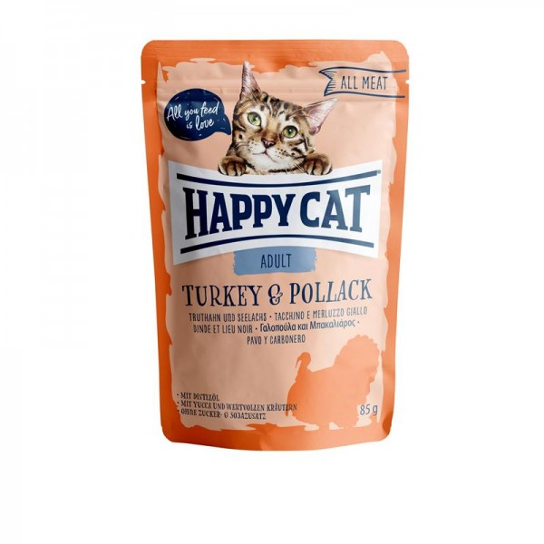 HappyCat All Meat Adult Truthahn & Seelachs 24x85g